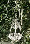 Cream or Black Small or Large French Style Metal Garden Hanging Baskets, Bracket