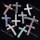 Crystal Cross Curved Spacer Beads Bracelet Connector Jewelry Design Findings DIY