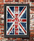 KC28 Framed Vintage Style Union Jack Keep Calm Play Netball Funny Poster A3/A4