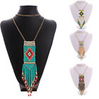 Fashion Long Chain Womens Crystal Beaded Chunky Charm Statement Necklace Jewelry