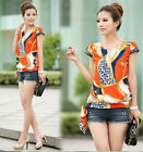 Fashion Women's Chiffon Short Sleeve Casual Printed T-shirt Top Blouse LA US001