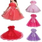 Girls Lace Roses Bow Layers Party Pageant Wedding Bridesmaid Christening Dress