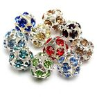 10x Crystal Silver Plated Rhinestone Crystal Spacer Beads 6 8 10 mm Mixed Color