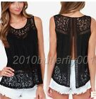 Women Summer Vest Top Sleeveless Blouse Casual Tank Tops T-Shirt Lace