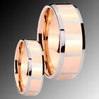 2pcs His & Hers Tungsten Rose Gold Two Tone Zebra Engraved Ring Set 4 to 14