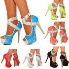 NEW Ladies Platform High Heels Studded Ankle Straps Peep Toe Lace Pump Shoe Size