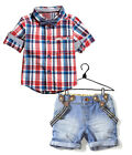 2PCS NEW Baby Boys Plaid short-sleeved shirt + braces cowboy shorts fit 2-6Y