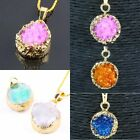 Druzy Quartz Cluster Crystal Stone Round Shape Gold Plated Random Beads Pendant