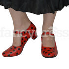 Girls Red Black Spanish Flamenco Shoes Dance World Book Week Costume NEW