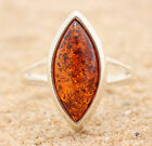 BALTIC AMBER RING * STERLING SILVER * COGNAC p4