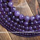 Strand 4-14mm Grade A Natural Amethyst Round Ball Loose Bead Jewelry Charms Hot