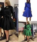 Women's Elegant Long Sleeve Autumn Winter Tunic Turn Down Collar  A-Line Dress