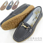 Ladies / Womens Leather Smart / Casual / Summer / Holiday Slip On Shoes / Flats