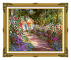 Framed The Garden Path Giverny Claude Monet Painting Repro Canvas Fine Art Print
