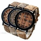 Women Cork Wood Grain Leather Bezel Dial Round Case Numeral Quartz Wrist Watch