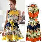 Stylish N4U8 Women's Halter Neck Bohemia Folded Printing Chiffon Dress  2 Colors