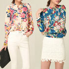 Sexy Women Long Sleeve Flower Floral Printed Chiffon Casual Shirt Blouse Top