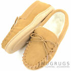 Childrens / Kids Wool Lined Moccasins with Suede Upper and Non Slip Sole