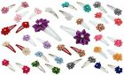 Zest 2 Sleepie Hair Clips Slides with Satin Ribbon Flowers