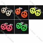 2pcUnisex Enamel Peace Logo Round Earrings Ear Stud Fashion Jewelry Punk Gothic