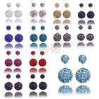 Women Casual Silver Red Colorful Double Crystal Ball Ear stud Earrings CA