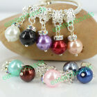 AB Rhinestone Spacer 10mm Resin Round Charms Dangle Beads Fit Bracelets & Bangle