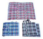 Large Reusable Storage Laundry Shopping Bag Zipped Checked Design Black Blue Red