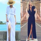 Elegant Women Long Sleeve Maxi Shirt Dress Split Cocktail Beach BOHO Dress Cape