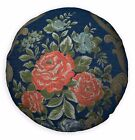 We504n Blue Damask Rose Chenille Round Shape Throw Pillow Case/Cushion Cover*Siz