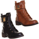 12687 Womens Ladies Laceless Side Zip Short Ankle Boot Gold Buckle Tan