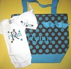 PERSONALIZED Baby Boy Girl Diaper TOTE BAG CREEPER T Shirt & HAT Gift Set DOTS