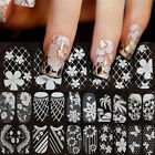 New 3D Lace Crystal Nail Art Tips Sticker Decal Full Wraps Floral DIY Decoration