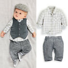 3PCS Outfits Clothes Sets Suit Newborn Baby Boy Gentleman Waistcoat +Shirt +Pant