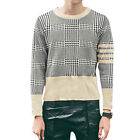 Men Printed Pullover Long Sleeve Round Neck Ribbed Casual Knit Shirt