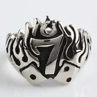Women Men Gothic Lucky 7 Number Punk Biker Stainless Steel Finger Ring Jewelry