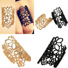 Fashion Women's Hollow Out Flower Alloy Opening Wide Cuff Style Ring Black/Gold