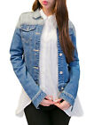 Women Point Collar Long Sleeved Button Up Faded Denim Jacket