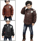 Boys Stylish Long Sleeved Ribbed Cuff Fleece Lined Faux Leather Jacket