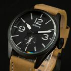 INFANTRY Mens Quartz Wrist Watch Luminous Genuine Leather Military Chronograph
