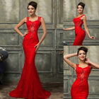2015 Long Mermaid Formal Prom Dresses Party Ball Evening Zipper Lace Satin Gown