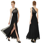 Ever Pretty Black Lace One Shoulder Slitted Evening Formal Dress 08197