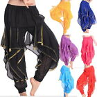 Harem Yoga Bloomers Pants Belly Dance Costume Chiffon Tribal Sequin Bead Shiny