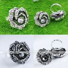 Vintage Rose Flower Crystal Adjustable Cocktail Party Finger Ring Jewelry Gift