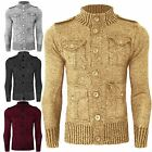 MENS FUNNEL NECK KNITTED ZARA CARDIGAN BUTTON TOP JUMPER SWEATER KNIT POCKETS