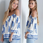 Fashion Womens Strap Off shoulder Loose T shirt Tops Summer Floral Print Blouse