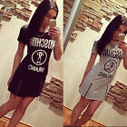 Womens Sexy Summer Short Sleeve Casual Sport Long Top Blouse Mini T shirt Dress