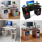 PC Table Computer Desk Work Station Home Office Furniture Monitor Printer Shelf