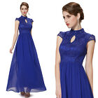 Blue Cap Sleeve Long Vintage Evening Party Cocktail Formal Dress 08180