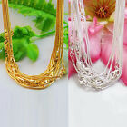 Wholesale 5/10Pcs Silver/Gold Plated Lobster Clasp 1mm Snake Chain Necklace 43cm