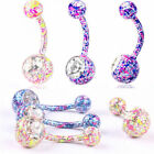 Body Piercing Jewelry Crystal Rhinestone Dangle Button Belly Navel Ring Bar Gift